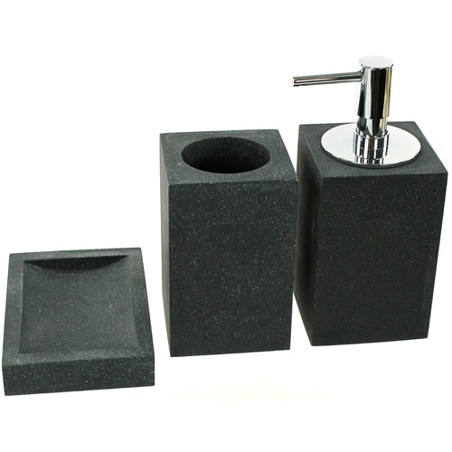 Bathroom Accessory Set In 3 Pieces, Black Finish