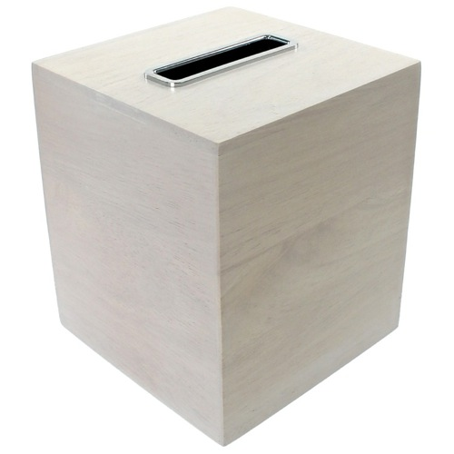 Tissue Box Made From Wood in White Finish