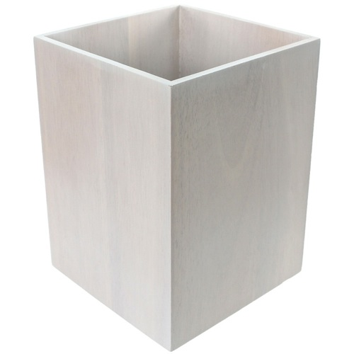 Waste Basket Made From Wood Available in White Finishes