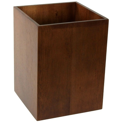 Waste Basket Made From Wood Available in Brown Finishes