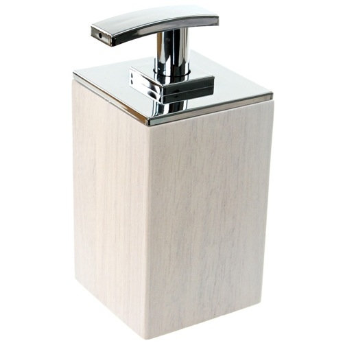 White Short Soap Dispenser in Wood