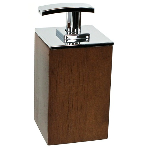 Square Short Brown Soap Dispenser in Wood