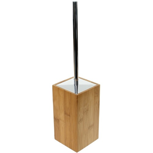 Wood Square Toilet Brush Holder with Brass