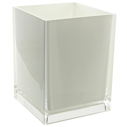 Free Standing Waste Basket With No Cover in White Finish