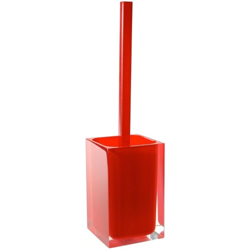 Red Thermoplastic Resins Square Toilet Brush Holder