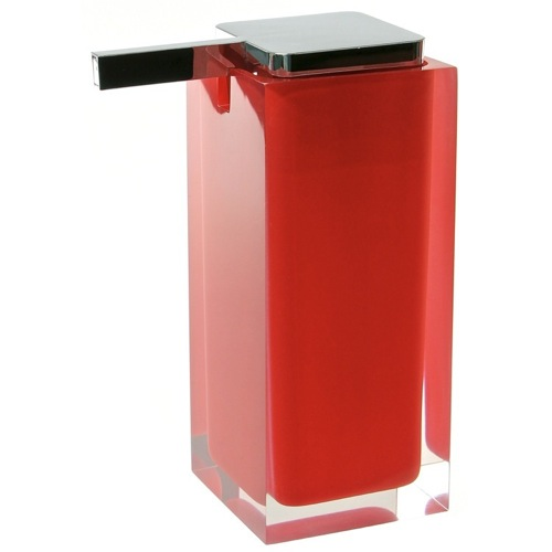 Square Red Countertop Soap Dispenser