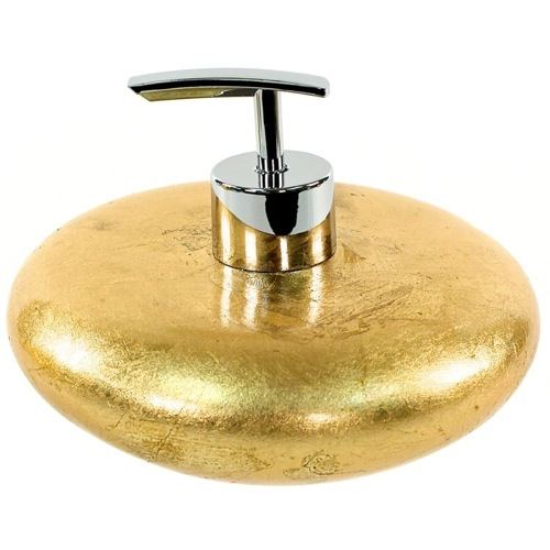 Wide Pottery Soap Dispenser in Gold