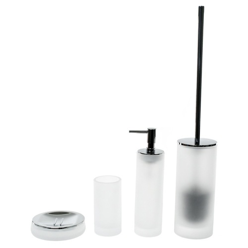 White 4 Piece Satin Glass Bathroom Accessory Set