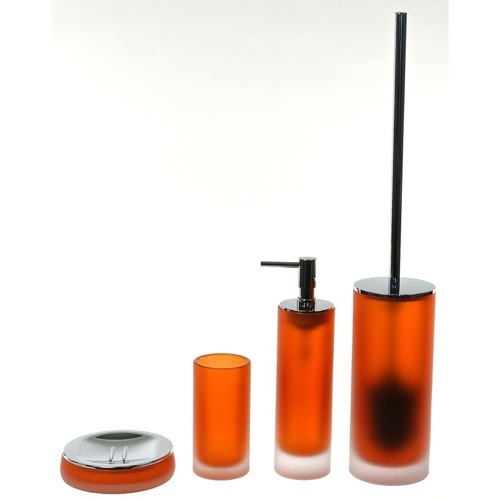 4 Piece Orange Satin Glass Bathroom Accessory Set