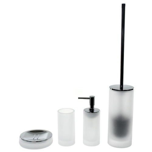 White Cylindrical 4 Piece Glass Bathroom Accessory Set