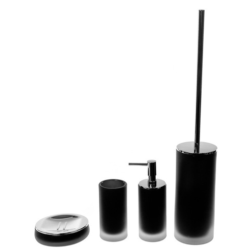 Black Cylindrical 4 Piece Glass Bathroom Accessory Set