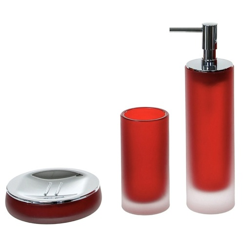 3 Piece Red Satin Glass Bathroom Accessory Set