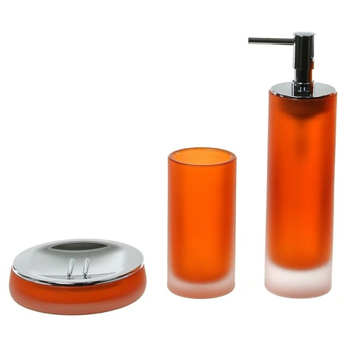 3 Piece Orange Satin Glass Bathroom Accessory Set