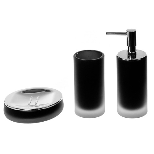 Black 3 Piece Satin Glass Bathroom Accessory Set