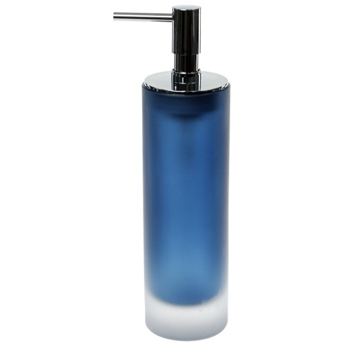 Blue Free Standing Soap Dispenser in Glass
