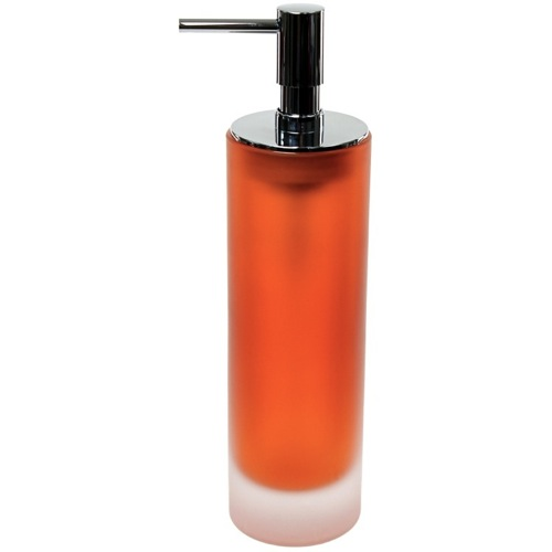 Free Standing Orange Soap Dispenser in Glass
