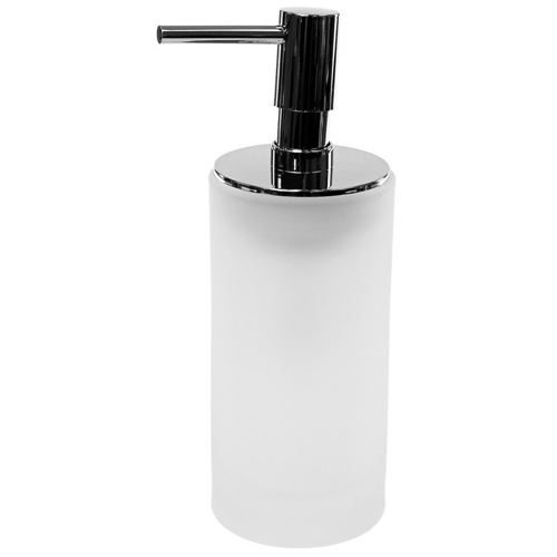 Free Standing White Glass Soap Dispenser