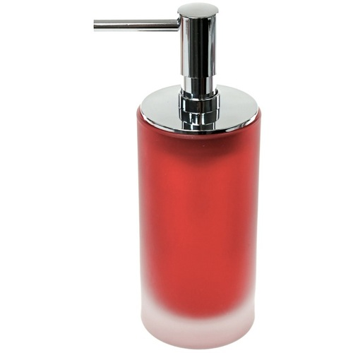 Free Standing Red Glass Soap Dispenser