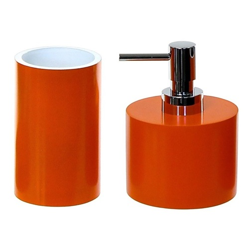 Bathroom Accessory Set With 2 Pieces In Orange