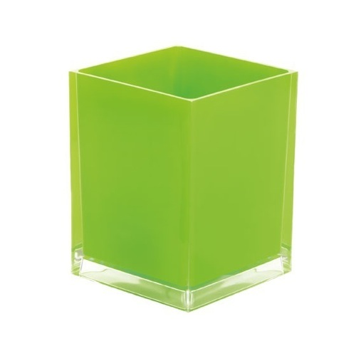 Free Standing Waste Basket With No Cover in Green Finish