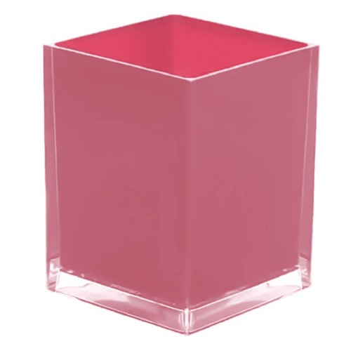 Free Standing Waste Basket With No Cover in Pink Finish