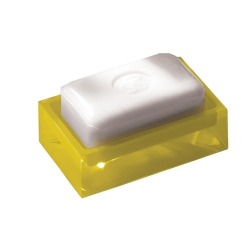 Yellow Rectangular Soap Dish of Thermoplastic Resins