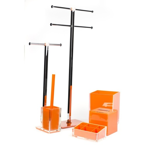 Orange Bathroom Accessory Set with Orange Finish