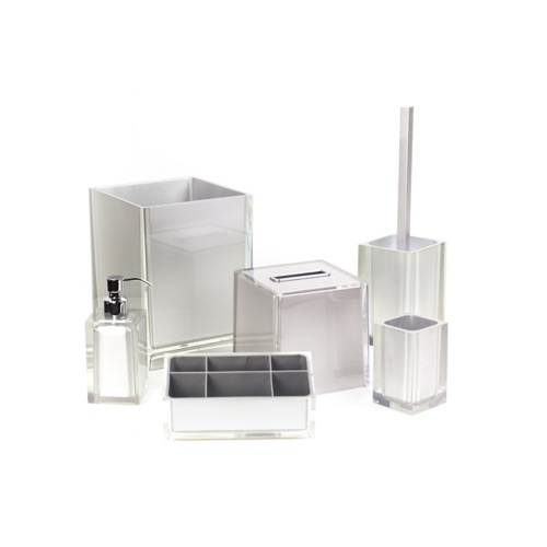 Silver Bathroom Accessory Set in Thermoplastic Resin