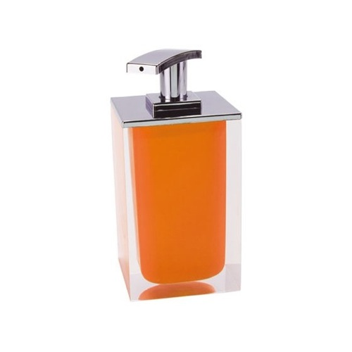 Square Soap Dispenser Made From Resin in Orange Finish