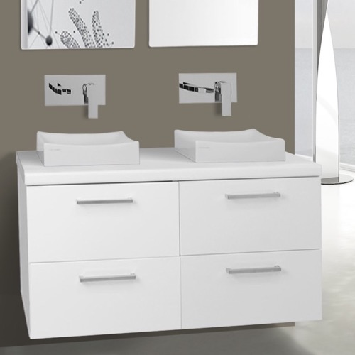 37 Inch Glossy White Double Vessel Sink Bathroom Vanity, Wall Mounted