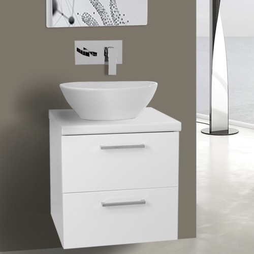 19 Inch Glossy White Small Vessel Sink Bathroom Vanity, Wall Mounted