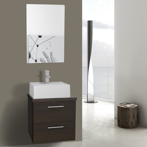 19 Inch Wenge Small Vessel Sink Bathroom Vanity, Wall Mounted, Mirror Included