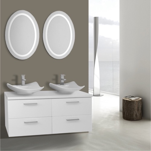 45 Inch Glossy White Bathroom Vanity, Wall Mounted, Lighted Mirror Included