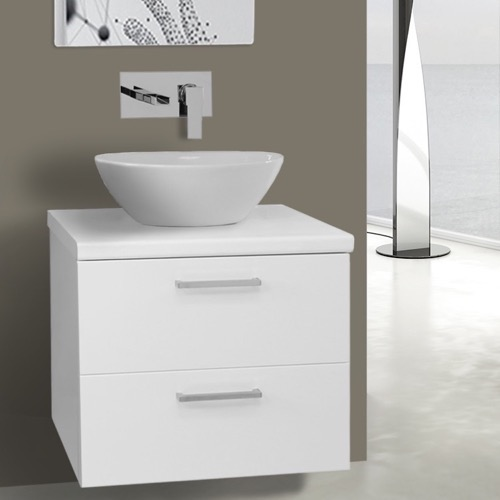 22 Inch Glossy White Vessel Sink Bathroom Vanity, Wall Mounted