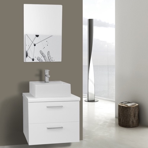 22 Inch Glossy White Vessel Sink Bathroom Vanity, Wall Mounted, Mirror Included