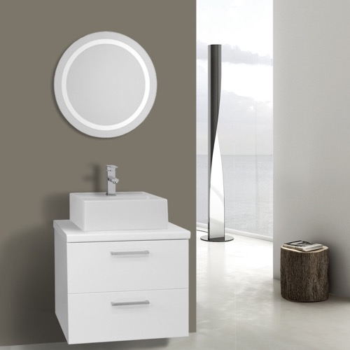 22 Inch Glossy White Bathroom Vanity, Wall Mounted, Lighted Mirror Included