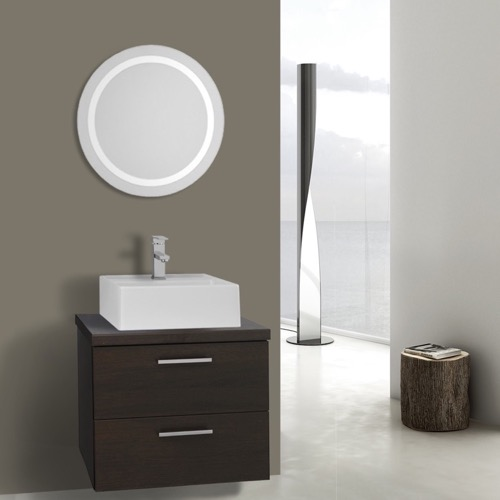22 Inch Wenge Bathroom Vanity, Wall Mounted, Lighted Mirror Included