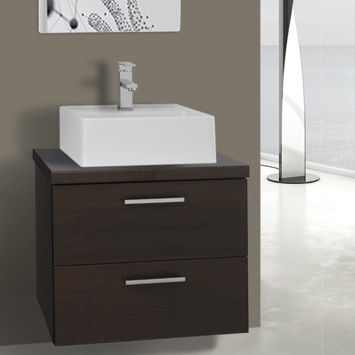 22 Inch Wenge Vessel Sink Bathroom Vanity, Wall Mounted