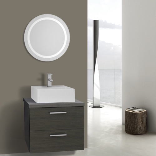22 Inch Grey Oak Bathroom Vanity, Wall Mounted, Lighted Mirror Included