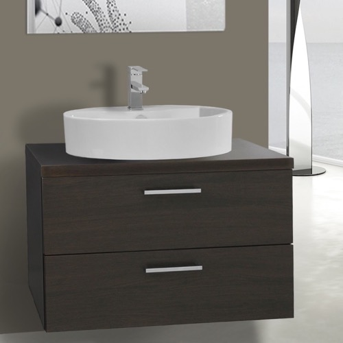 30 Inch Wenge Vessel Sink Bathroom Vanity, Wall Mounted