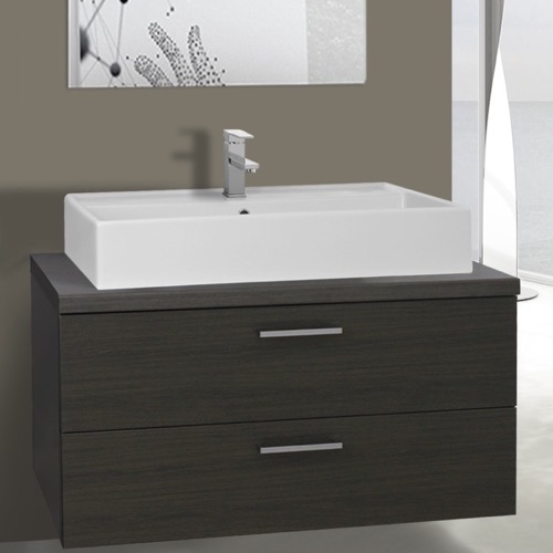 38 Inch Grey Oak Vessel Sink Bathroom Vanity, Wall Mounted