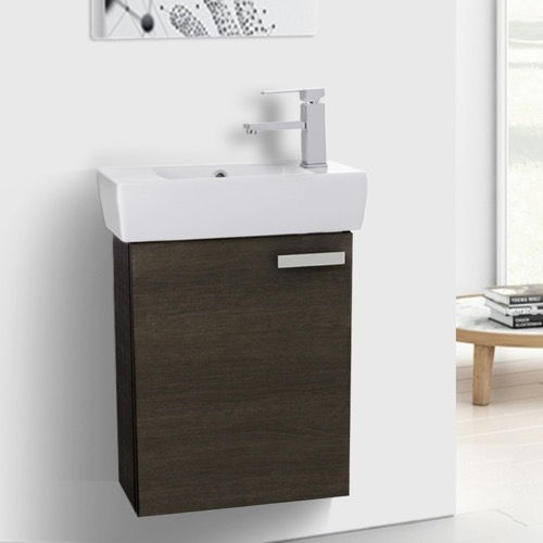 19 Inch Grey Oak Wall Mount Bathroom Vanity with Fitted Ceramic Sink