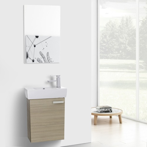 19 Inch Larch Canapa Wall Mount Bathroom Vanity with Fitted Ceramic Sink, Mirror Included