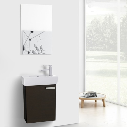 19 Inch Wenge Wall Mount Bathroom Vanity with Fitted Ceramic Sink, Mirror Included