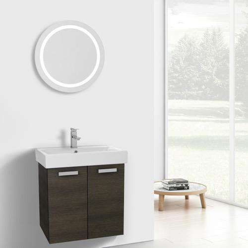 24 Inch Grey Oak Wall Mount Bathroom Vanity with Fitted Ceramic Sink, Lighted Mirror Included