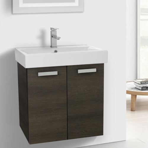 24 Inch Grey Oak Wall Mount Bathroom Vanity with Fitted Ceramic Sink