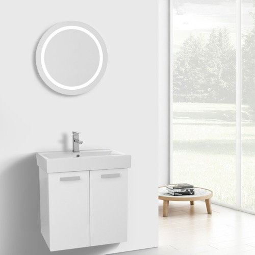 24 Inch Glossy White Wall Mount Bathroom Vanity with Fitted Ceramic Sink, Lighted Mirror Included