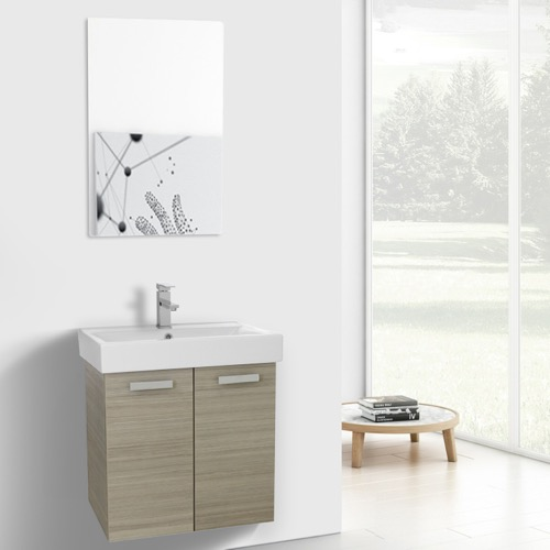 24 Inch Larch Canapa Wall Mount Bathroom Vanity with Fitted Ceramic Sink, Mirror Included