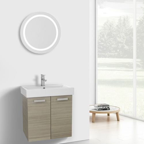 24 Inch Larch Canapa Wall Mount Bathroom Vanity with Fitted Ceramic Sink, Lighted Mirror Included