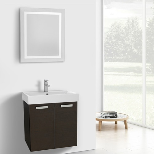 24 Inch Wenge Wall Mount Bathroom Vanity with Fitted Ceramic Sink, Lighted Mirror Included